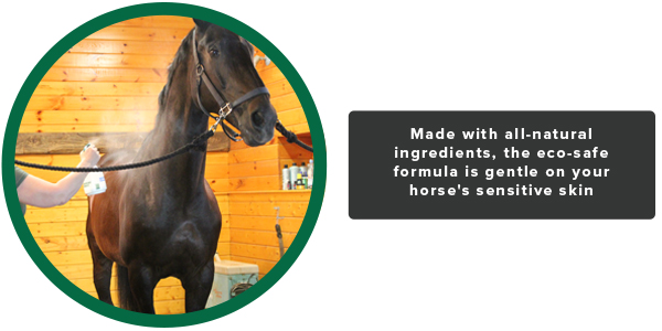 Made with all-natural ingredients, the eco-safe formula is gentle on your horse's sensitive skin