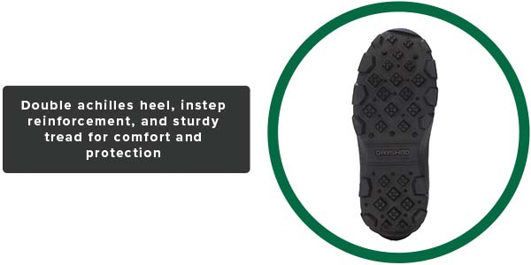 Double Achilles heel, instep reinforcement, and sturdy tread for comfort and protection