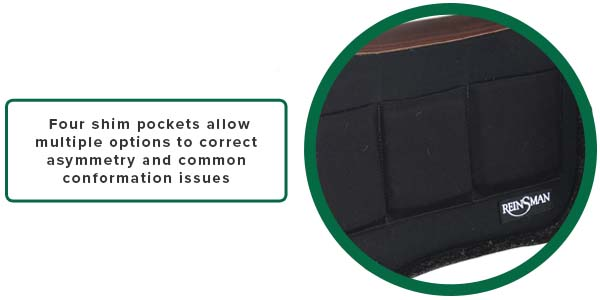 Four shim pockets allow multiple options to correct asymmetry and common conformation issues
