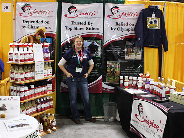 The Cheshire Horse Sales Associate Morgan at our booth with Shapley's