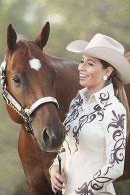 "Strong visual effects create drama in the show ring. ""Shalimar"" from Hobby Horse pairs crystal-studded chocolate Ultrasuede trim with a stretch vanilla body for a stunning statement of western show style. Photo ©2015, Hobby Horse Clothing Co., Inc."