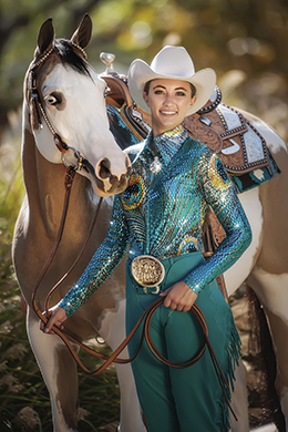 "Dazzling sequined ""Splendor"" blouse from Hobby Horse's Limited Edition collection is attractive on any horse; especially flattering on sorrels and chestnuts. Headstalls and saddles with contrast leather and studded trims add interest to the presentation. Photo ©2015, Hobby Horse Clothing Co., Inc."